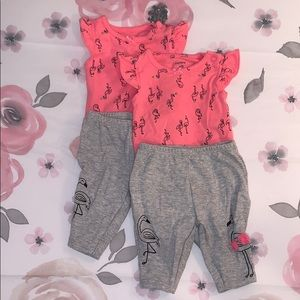 Worn Once! Carter's Size Newborn Twin Girl Outfit